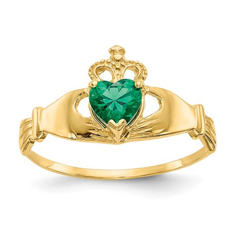 Claddagh Ring, 14k Gold, Set with Irish Green Heart