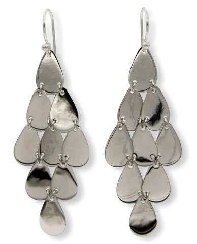 Klaebu Handmade Long Sterling Silver Chandelier Tiered Drop Earrings