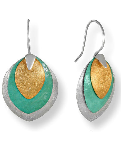 Klaebu Handmade Triple Layer Tri-Color Sterling Silver and Copper Drop Earrings