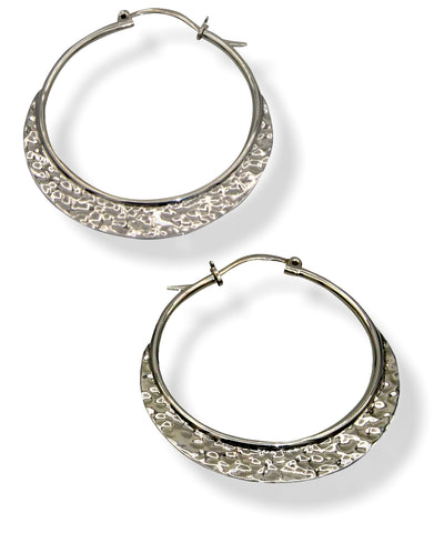 Klaebu Handmade Sterling Silver Hammered Hoop Earrings