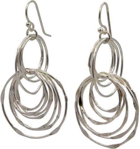 Klaebu Handmade Sterling Silver Circle Chandelier Drop Earrings