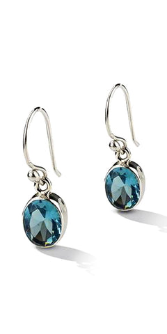 Klaebu Handmade Blue Topaz Drop Sterling Silver Earrings