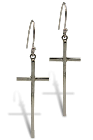 Klaebu Handmade Long Silver Cross Drop Earrings