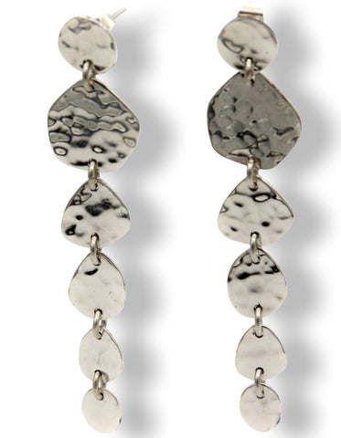 Klaebu Handmade Sterling Silver Hammered Disk Long Drop Earrings