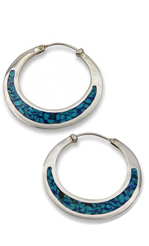 Klaebu Handmade Turquoise Inlaid Silver Hoop Earrings