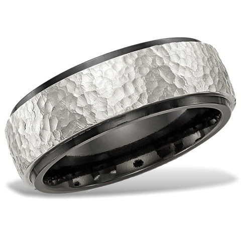 Hammered Argentium Sterling Silver and Black Titanium Wedding Band
