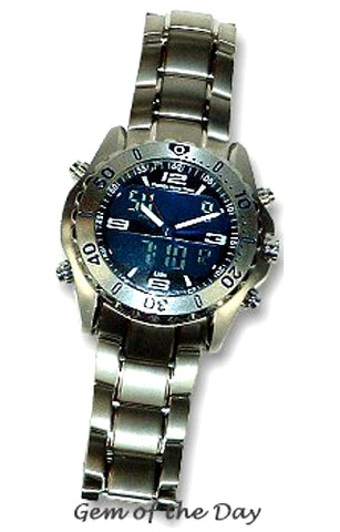 Florida Keys Time Digital Analog, Dual Time, Alarm Chronograph Titanium Watch, FKT-BLUE