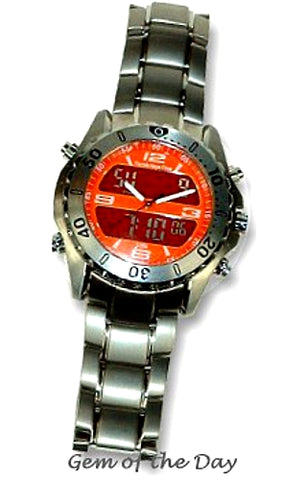 Florida Keys Time Digital Analog, Dual Time, Alarm Chronograph Titanium Watch, FKT-ORANGE