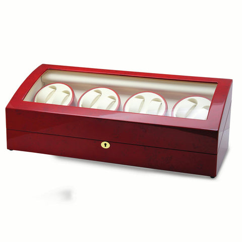 8 Watch Jewelry Case and Watch Winder, Red Cherrywood Finish by Rotations