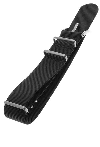 IsoBright Black Nylon NATO Strap, Steel LOGO Buckle, 22 or 24 mm, INB100