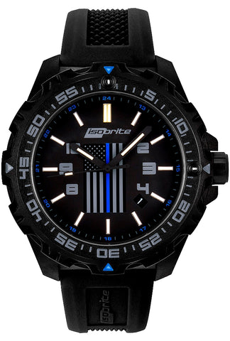 IsoBright Thin Blue Line T100 Tritium Law Enforcement Watch, Limited Edition ISO3005