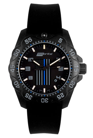 IsoBright Thin Blue Line T100 Mid-Size Tritium Watch, Limited Edition ISO3006