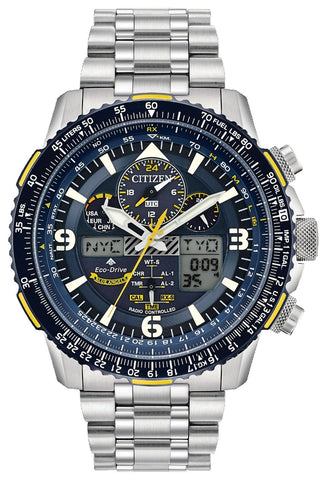 Citizen Blue Angels Super Titanium Skyhawk A-T, Pilot's Flight Computer, JY8101-52L