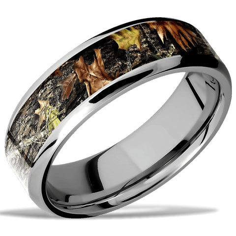 Gem of the Day's KOSCIUSKO Wedding Ring by Lashbrook, Cobalt Chrome, Mossy Oak Camo