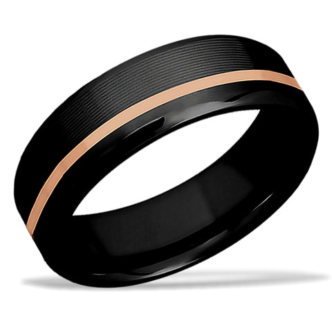 Hidden Blush Black Zirconium and 14k Rose Gold Wedding Band by Lashbrook