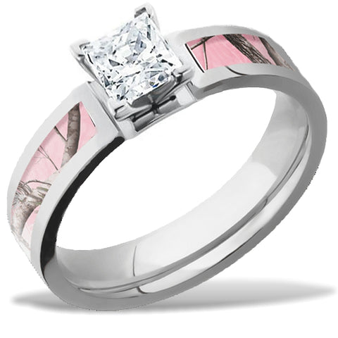 Lashbrook Real Tree Pink Camo Engagement Ring with 1/2 carat Princess Cut Diamond