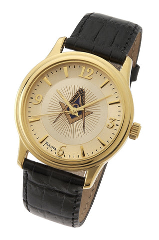 Bulova Blue Lodge Masonic Watch, Goldtone Stainless Steel with Leather Strap
