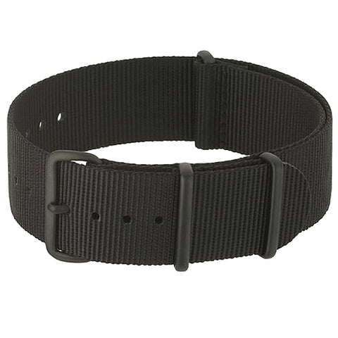 Traser Genuine OEM Nylon NATO Style Strap with Black Buckles, 22mm, Model T1-Black, 105721B