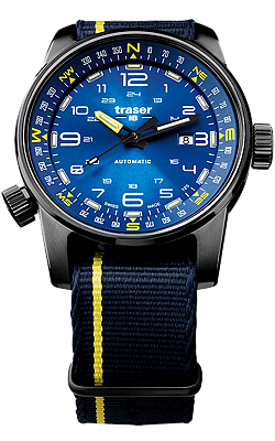 Traser P68 Pathfinder Automatic Tritium Watch, Blue Dial, Compass Bezel, 107719
