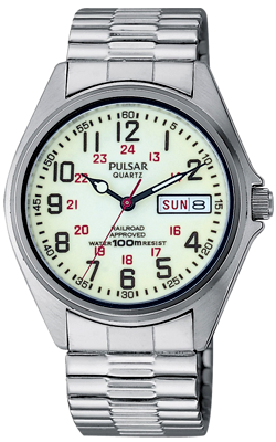 Pulsar Men's Glowing Luminous Dial Railroad Day-Date Watch, PXN021