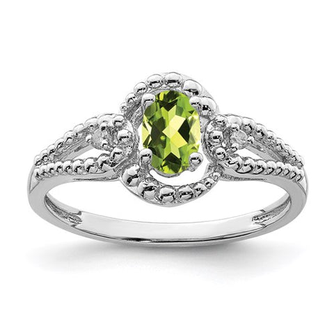 Genuine Peridot and Diamond Ring - August Birthstone Ring