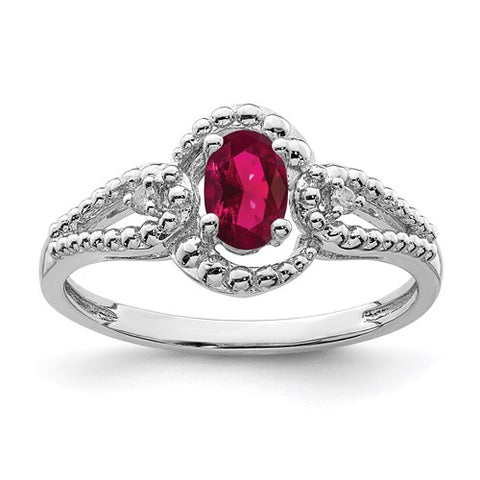 Lab Created Ruby and Genuine Diamond Ring - July Birthstone Ring