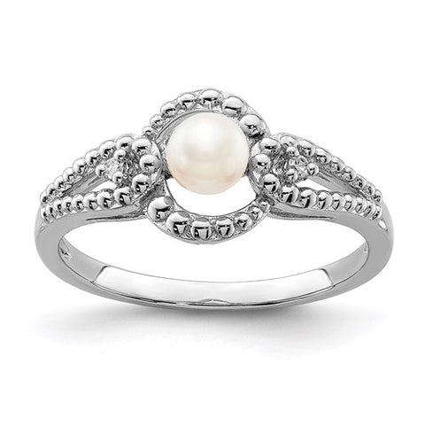 Genuine Cultured Pearl and Diamond Ring - June Birthstone Ring