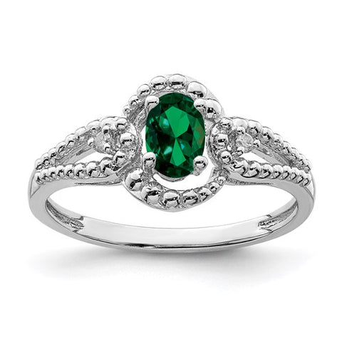 Lab Created Emerald and Genuine Diamond Ring - May Birthstone Ring