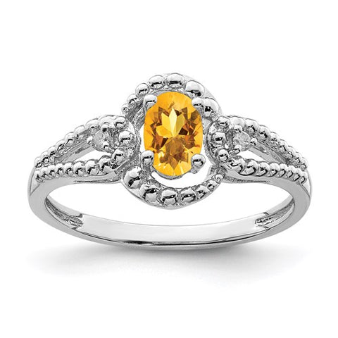 Genuine Citrine and Genuine Diamond Ring - November Birthstone Ring