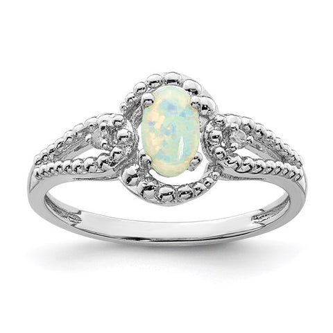 Gorgeous Created Opal and Genuine Diamond Ring - October Birthstone Ring