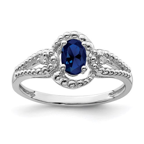 Lab Created Sapphire and Genuine Diamond Ring - September Birthstone Ring