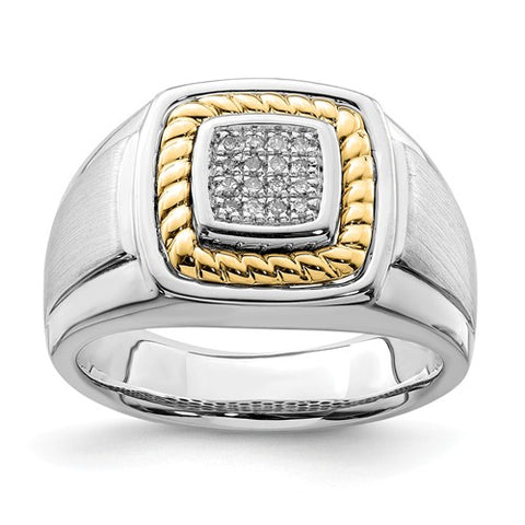 Men's 16 Diamond Ring, Crafted in Sterling Silver and 10k Gold
