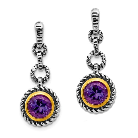 Syndy Sterling Silver Amethyst Earrings with 14k Gold Vermeil Accents