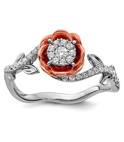 The Diamond Rose Ring, 14k Rose and White Gold