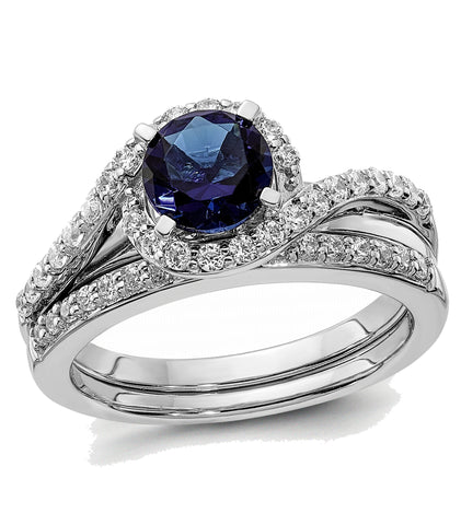 One Carat Sapphire Solitaire in a Diamond Halo Bridal Set, 14k White Gold