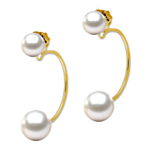14k Gold Genuine Pearl Demi-Hoop Earrings