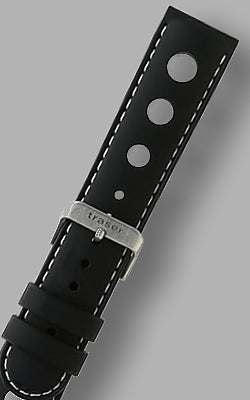 "Traser ""Automatic Master"" Signature Rubber Strap with White Stitching"