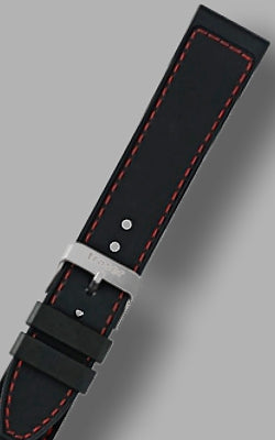 "Traser ""Elite Red"" Signature Rubber Strap with Red Stitching 22mm"