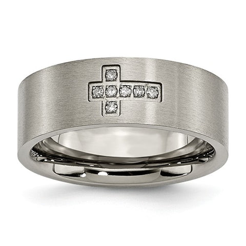 Men's Diamond Cross Band, .07 carats t.w., Solid Titanium
