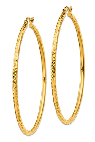 14k Gold Extra Large Hoop Earrings, Diamond Cut, 2 inch Diameter
