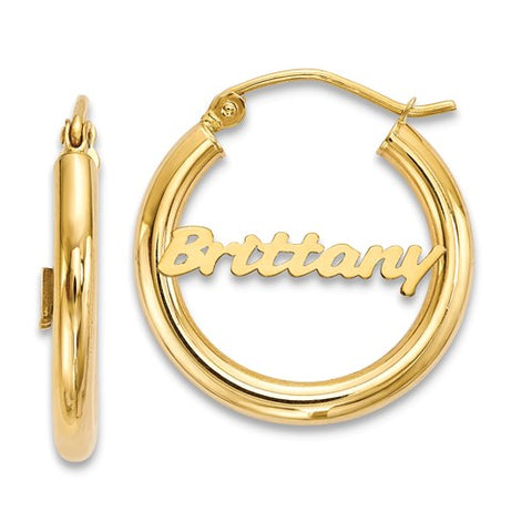 Personalized Name 10k Gold Hoop Earrings