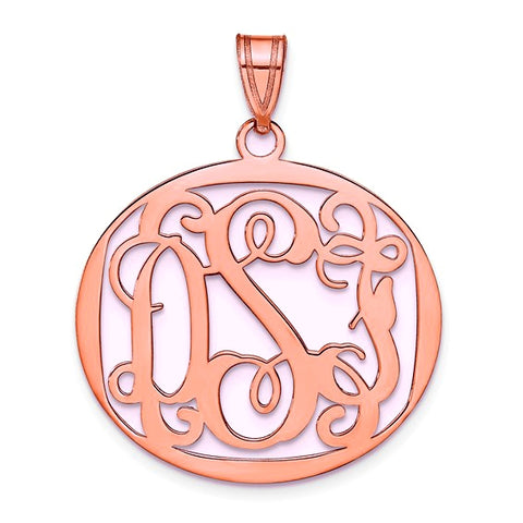 Personalized Oval Monogram Pendant, Sterling Silver or Gold over Sterling or Rose Gold Over Sterling
