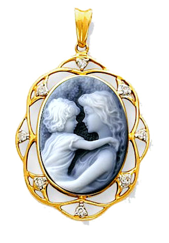 Everlasting Love Blue Agate Cameo Diamond Lace 14k Gold Pendant