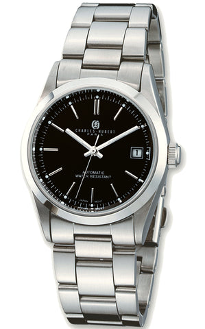 Charles-Hubert Paris Quintessential Men's Automatic Wristwatch, Black Dial, Stainless Steel XWA3319