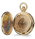 17 jewel Portrait Pocket Watch, Closing Cover Holds 2 Photographs, Goldtone Case