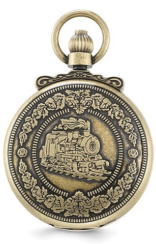 Railroad Pocket Watch, Antiqued Steam Engine Closing Cover Design