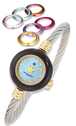 Stainless Steel Bangle Watch with 7 Interchangeable Color Bezels