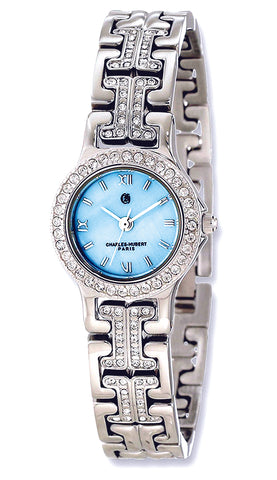 Charles-Hubert Paris Dazzling Crystal Bracelet Watch with Interchangeable Bezels, Blue MOP Dial
