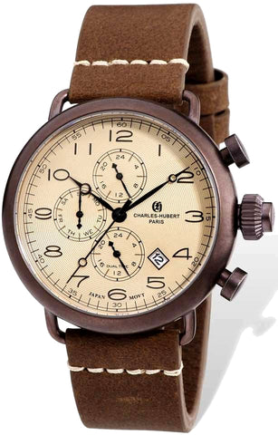 Charles-Hubert Paris Vintage Dual Time Pilot's Watch, Rich Brown IP Case XWA4788