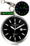 Charles-Hubert Paris Stainless Steel Open Face T100 TRITIUM Pocket Watch